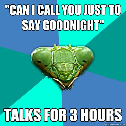 can i call you just to say goodnight talks for 3 hours - Crazy Girlfriend Praying Mantis
