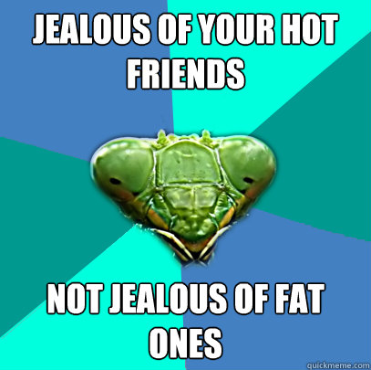jealous of your hot friends not jealous of fat ones - Crazy Girlfriend Praying Mantis