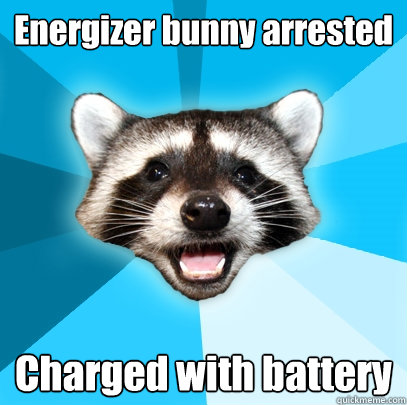 energizer bunny arrested charged with battery - Lame Pun Coon